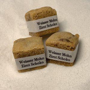 Cookie Cube Weisser Mohn Zimt Schoko